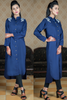 Navy Linen Shirt Kurta with Embroidered Shoulders