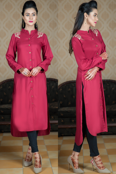Maroon Linen Shirt Kurta with Embroidered Shoulders