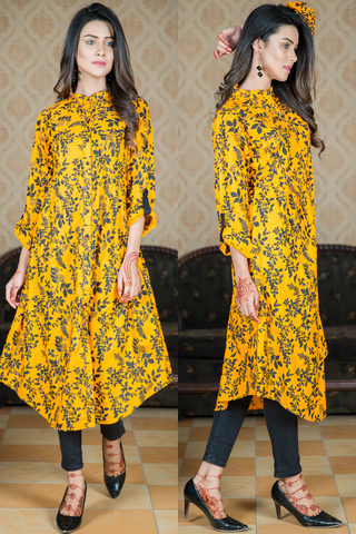 Sunflower Yellow Linen Shirt Kurta