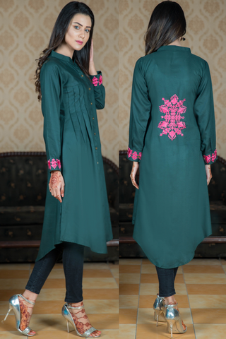 Bottle Green Shirt Kurta with Embroidered Back & Cuff