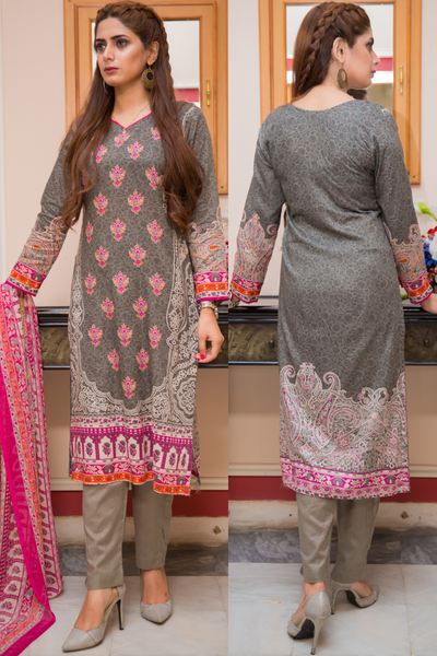 Three Piece: Grey Pistachio Kurta with Trouser & Scarf