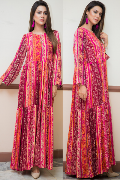SALE Printed Marina Tiered Orange Pink Maxi