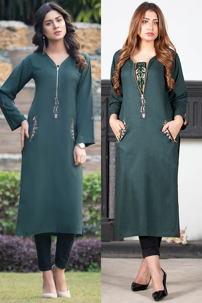Bottle Green Zip Kurta with Aari work Embroidery on the Front & Pockets