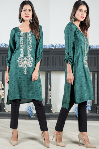 Green Jaquard Kurta with Embroidery