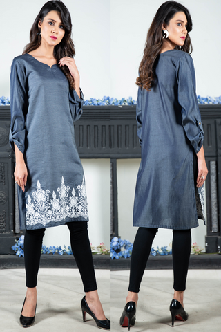 SALE Denim Embroidered Kurta