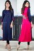 Navy Pink Self Embossed Linen Kurta with Embroidered Back