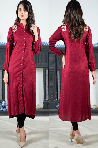 Maroon Self Linen With Aari Embroidery on the Shoulders