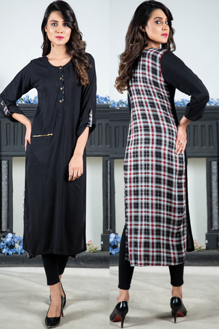 Print & Plain Check Kurta with Zip Pocket
