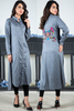 Grey Self Linen Shirt Kurta with Embroidered Back