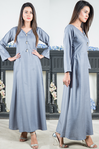 Grey Linen Maxi with Black Pearl & Gold Leaf Buttons