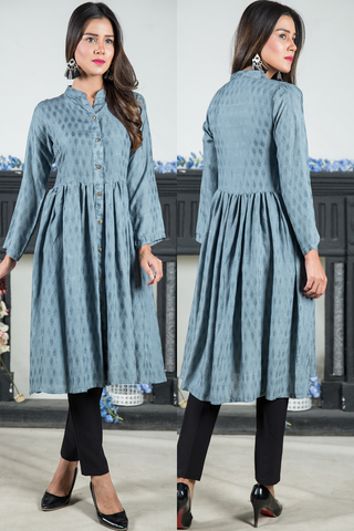 Grey Jacquard Self Print Shirt Kurta