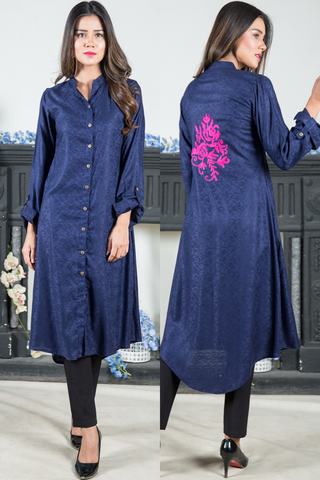 Navy Self Shirt Kurta with Pink Aari Embroidery