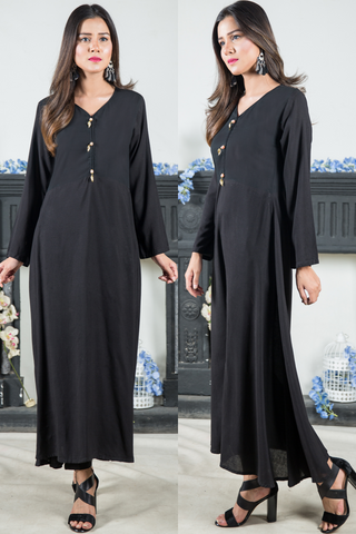 Black Linen Maxi with Pearl Gold Leaf Buttons