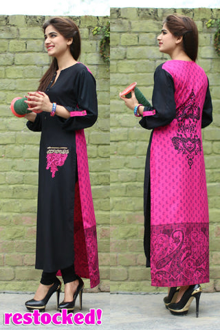 Pink & Black Long Kurti with Embroidery Printed Back in Pink