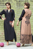 Red & Black Long Kurti with Embroidery Printed Back in Beige - Damak  - 1