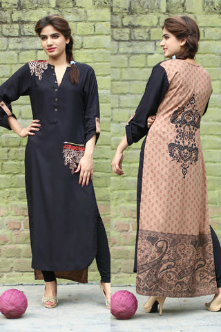 Red & Black Long Kurti with Embroidery Printed Back in Beige