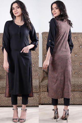 Print & Plain Black Beige Leopard Linen Kurta with Pocket