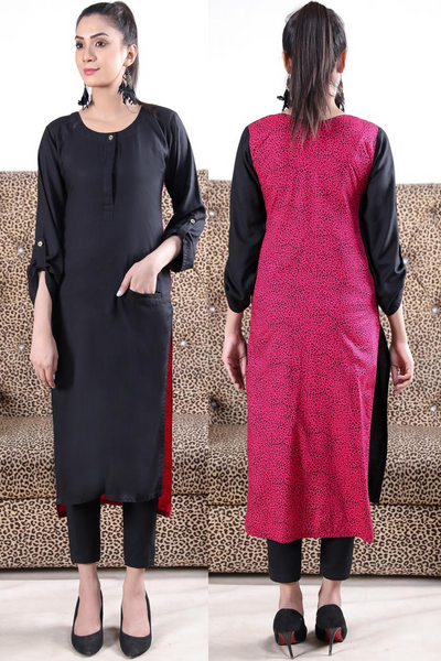 Print & Plain Black Pink Leopard Linen Kurta with Pocket