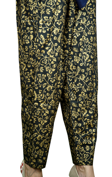 Gold Printed Linen Trouser