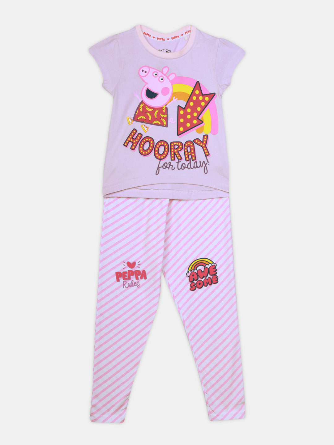 peppa pig hurray nap chief girls 100% organic cotton night suit