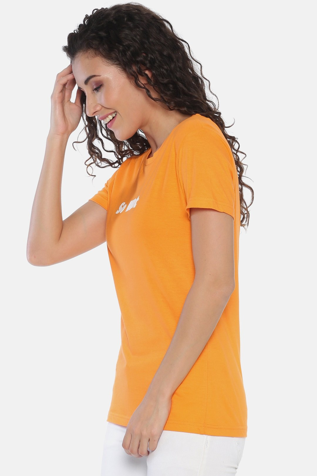 yellow printed cotton t shirt for women