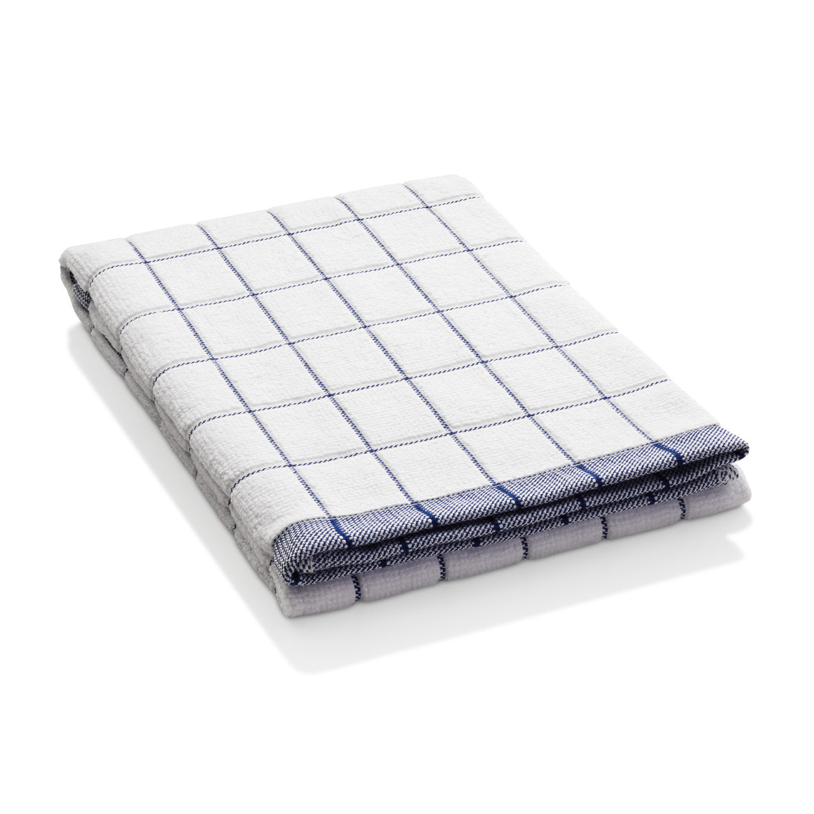 Classic Check Dish Towel - Super-Absorbent, 90% Microfiber & 10% Cotton Blend - Blue Check