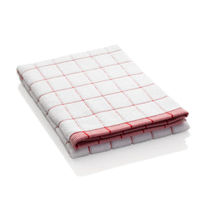 Classic Check Dish Towel - Super-Absorbent, 90% Microfiber & 10% Cotton Blend - Red Check