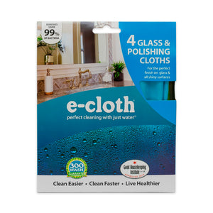 Glass & Polishing Cloth - Brilliant for Sparkling Windows, Mirrors, Glassware, Chrome, and More - Includes 1 Each of Blue, Yellow, Green, Pink - 4 Pack
