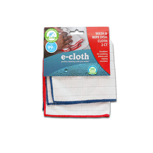 Wash & Wipe Dish Cloth - 1 Blue Trim & 1 Red Trim - 2 Cloth Pack