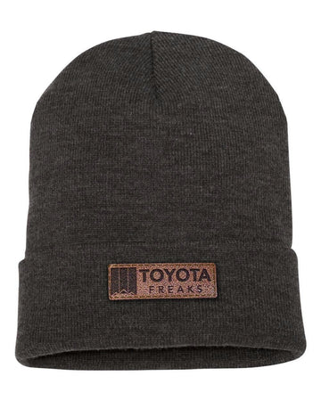 Leather Patch Beanie (Preorder)