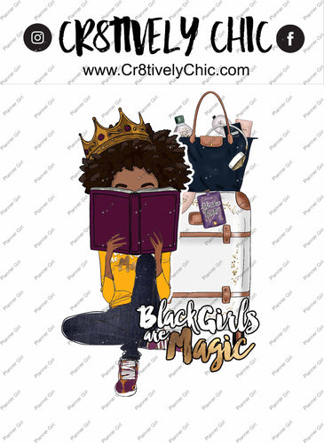 Die cut, illustration clipart, curly girl, travel, bwwpc, atlanta, comfy, relax digital