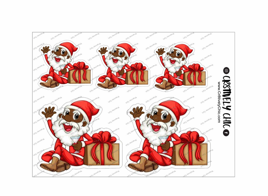 Drinky Santa Sticker sheet digital