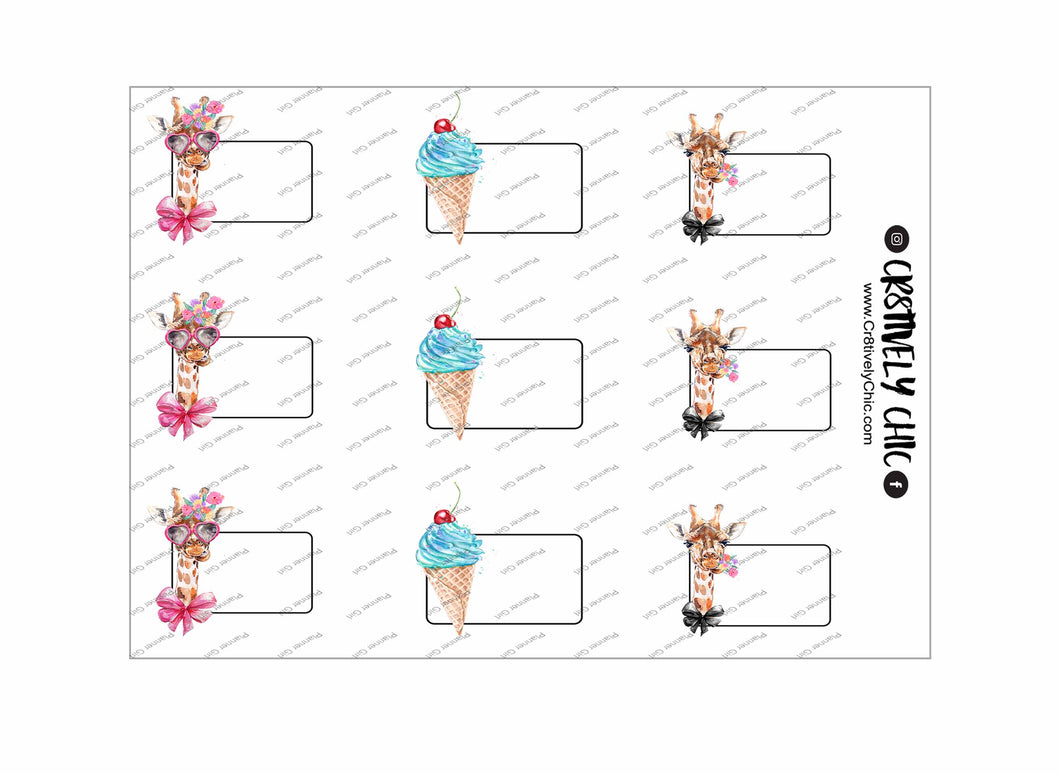 Silly Giraffe Labels digital