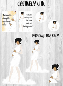 Printable stickers, Baby Bump, Cardi B, Mom, mini kit