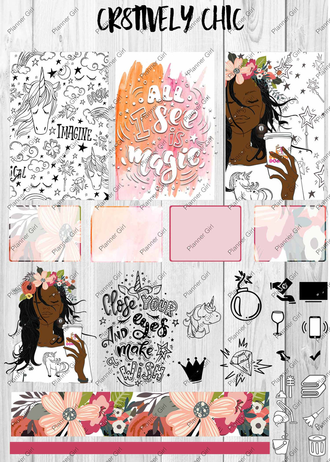 digital stickers, boho, unicorn, magic, planner