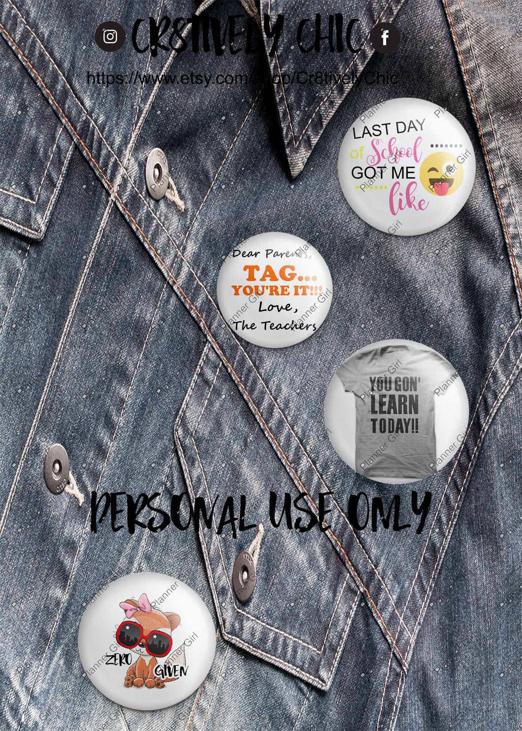 B6 Dashboard, denim, buttons, printable,teacher, last day of school, end of the year