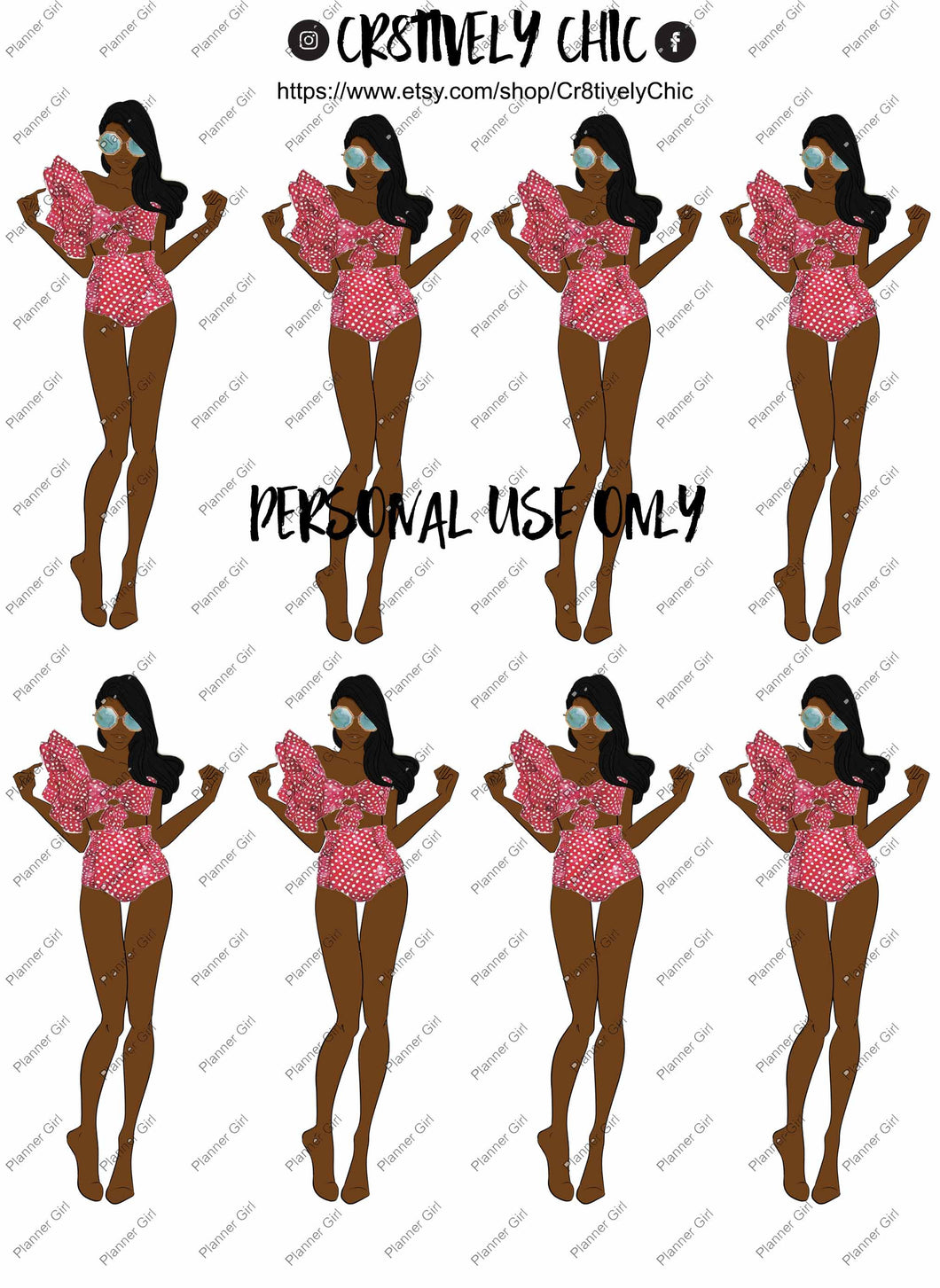 Fashion, planner stickers, printable, bathing suit, summer
