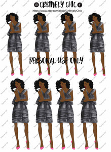 Printable stickers, curly girl, ruffles, summer, party, classy