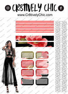 Red Floral Mini Kit Washi digital