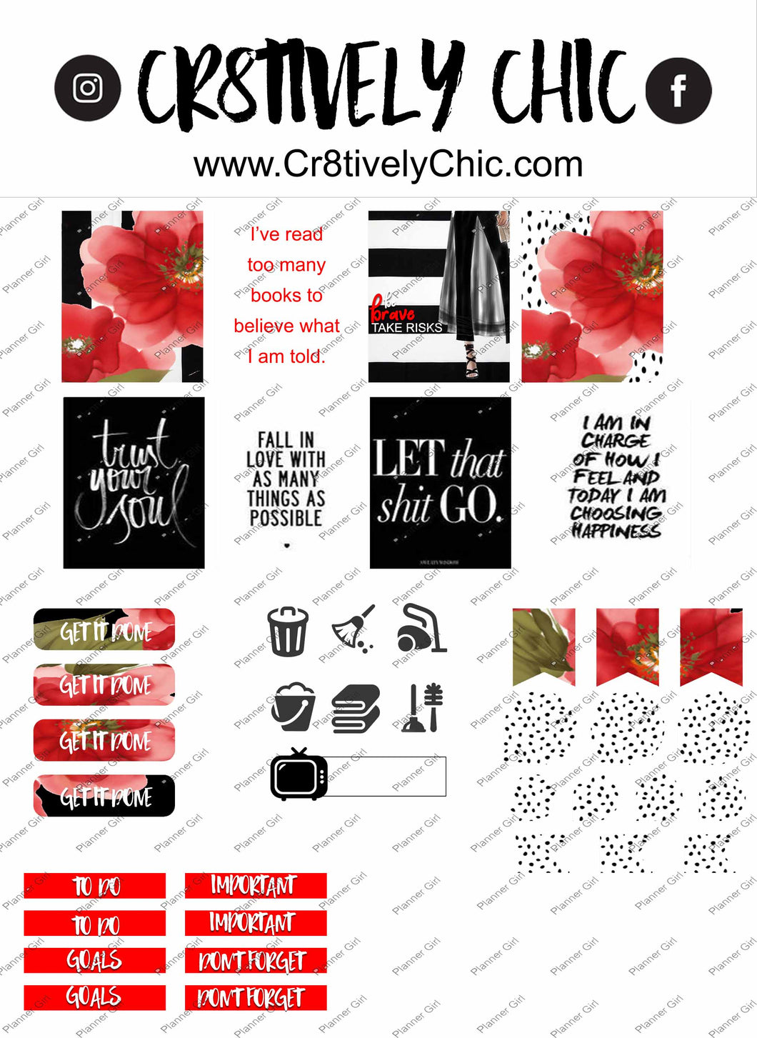 Red Floral Mini Kit Boxes digital