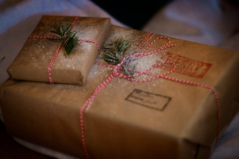 Brown paper wrapped presents.