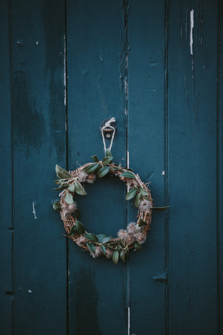 Christmas wreath hanging.