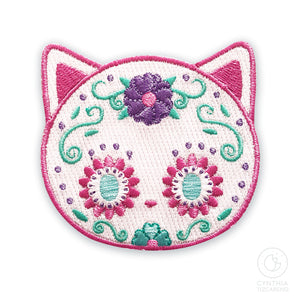 Pastel Sugar Skull Cat Iron-On Patch