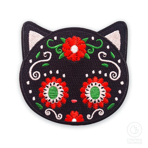 Sugarskull Black Cat Iron-On Patch