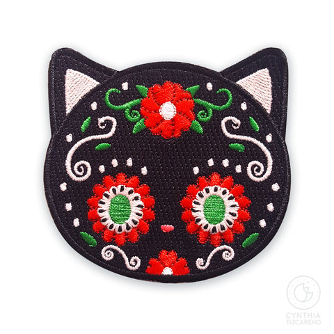 Sugar Skull Black Cat Iron-On Patch