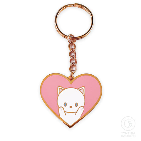 White Cat in Heart Metal Keychain