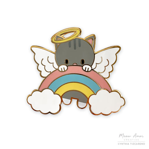 Gray Tabby Angel Cat Enamel Pin