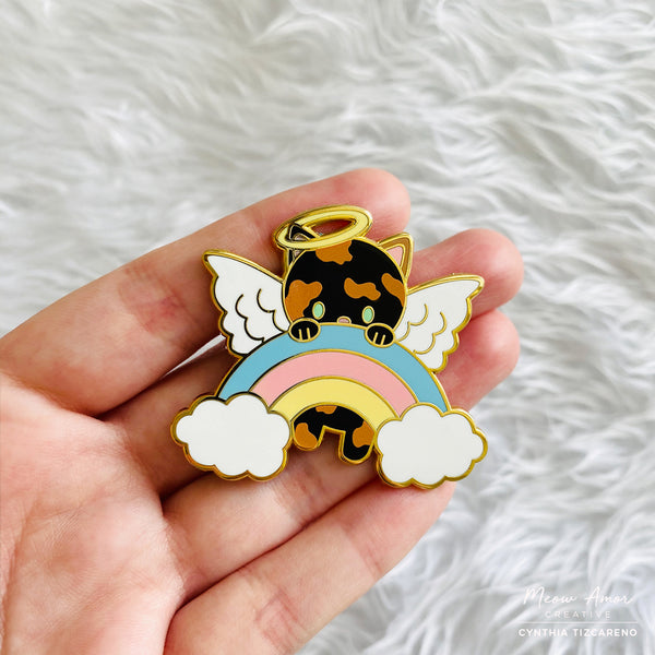 Tortie Angel Cat Enamel Pin