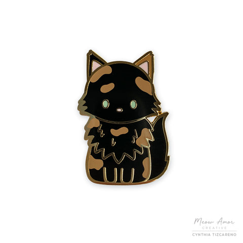 Fluffy Tortie Cat Enamel Pin
