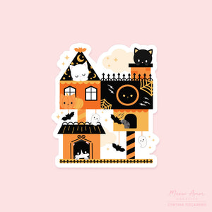 Haunted Cat tree House Vinyl Sticker